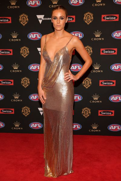 Sarah Roughead, wife of Hawthorn's Jarryd Roughead, at the 2018 Brownlow Medal, September, 2018