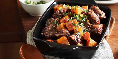 Middle Eastern oxtail stew with pumpkin, spices & thyme gremolata