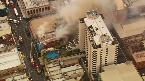 A fire destroyed a three-storey building in Adelaide's CBD last Tuesday. (9NEWS)
