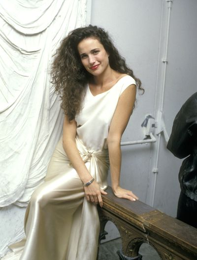Back in 1987 Andie Macdowell kept things simple, having already found her signature look of flowing raven locks and a strong lip.