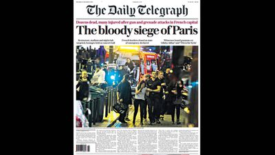 UK newspaper <em>The Daily Telegraph</em> ran 'The bloody siege of Paris'.
