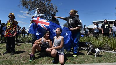 Melton locals show their support for the anti-Islamic Reclaim Australia group during the rally. (AAP)