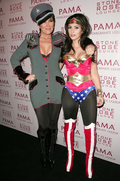 Kris Jenner and Kim Kardashian West at the Kardashian's Halloween Masquerade in Los Angeles, October, 2008