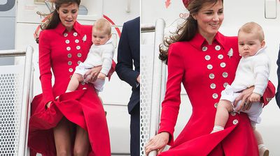 Stepping off the royal jet, Kate had a gusty wardrobe malfunction with her bright red coat, with the city's infamous windy weather revealing a little more of her legs than she intended.