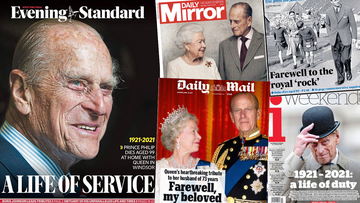 British front pages after death of Prince Philip