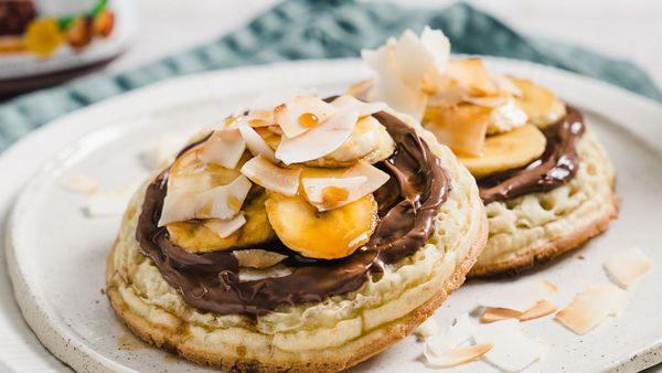 Crumpets with Nutella, caramelised banana and toasted coconut