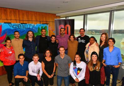 Brooke Boney and Adam Goodes supporting Indigenous art.