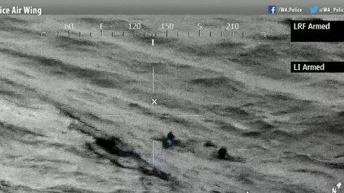 By this point the three had drifted almost two kilometres from where they are thought to have fallen in. (9NEWS)