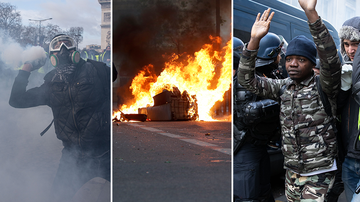 Paris rocked by fresh violence as thousands demonstrate over scrapped fuel tax.