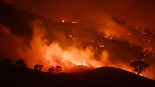 General view of the Dunn Road fire on January 10, 2020 in Mount Adrah, Victoria.