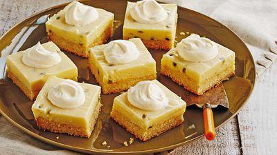 "Recipe: <a href=""http://kitchen.nine.com.au/2017/10/13/11/38/trishas-classic-passionfruit-slice"" target=""_top"">Passionfruit slice recipe</a>"