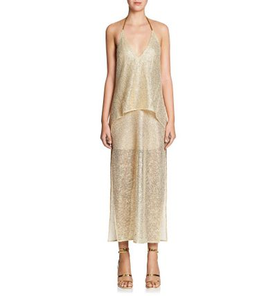 "Manning Cartell foil dress, $599 at <a href=""http://shop.davidjones.com.au/djs/ProductDisplay?urlRequestType=Base&catalogId=10051&categoryId=203553&productId=13925028&errorViewName=ProductDisplayErrorView&urlLangId=-1&langId=-1&top_category=26551&parent_category_rn=&storeId=10051"" target=""_blank"">David Jones</a><br />"