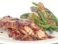 Cranberry glazed turkey with sage and onion beans