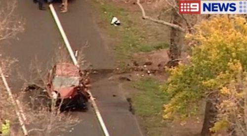 A young girl died after a car hit a tree near Ballarat. (9NEWS)