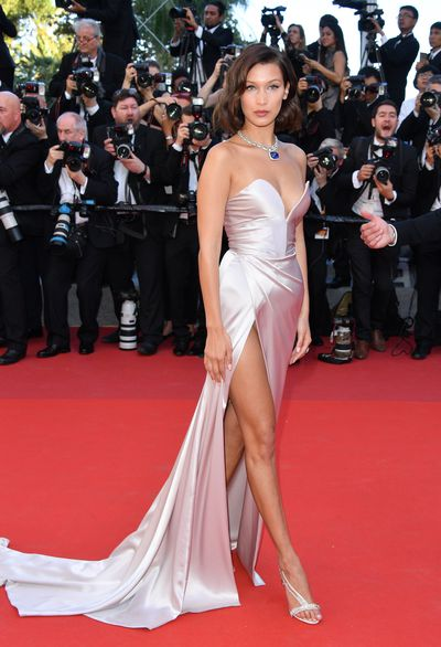 Model Bella Hadid in Alexandre Vauthier at the 2017 Cannes Film Festival