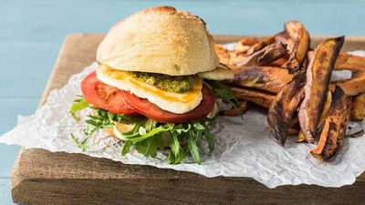 """<a href=""""http://kitchen.nine.com.au/2017/03/23/09/10/pesto-haloumi-burgers-with-rosemary-sweet-potato-chips"""" target=""""_top"""">Pesto haloumi burgers with rosemary sweet potato chips</a>"""