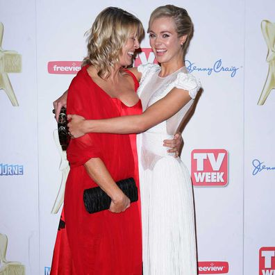 Jessica Marais and her mother Karen on the Logies red carpet in 2011.