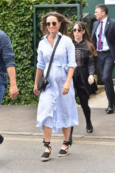 Pippa Middleton Matthews in a shirt dress from Ralph Lauren and Penelope Chilvers espadrilles at Wimbledon, July 2018