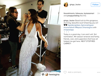 <p>Gina Rodriguez posted this moving message to her Instagram accounts, 'Today is a great day. I can and I will. Next stop red carpet'. She also thanked her friends, family and team for their love and support.</p> <p>Image: Instagram/@ginga_louise</p>