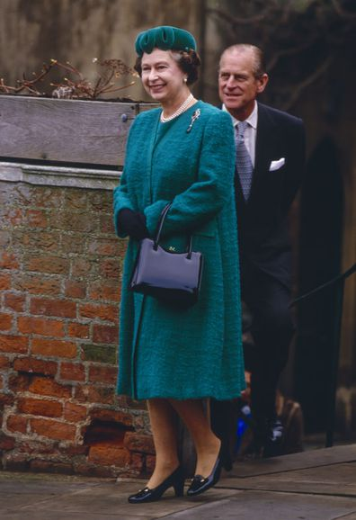 Queen Elizabeth II, and Prince Philip, The Duke of Edinburgh, attend The Christmas Day Service at St Georges Chapel, Windsor Castle (Photo: December 25, 1987, in Windsor, UK)