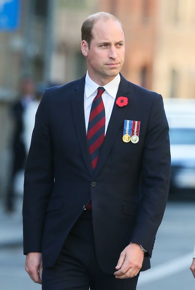 Prince William arrives at the Last Post ceremony to deliver his speech.