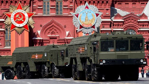 Russian mobile missile launchers during a parade in Moscow.