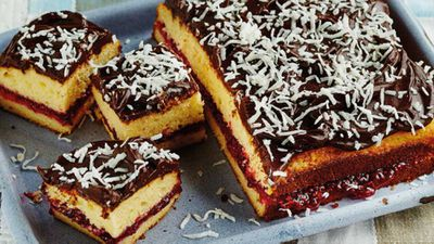 "Recipe: <a href=""http://kitchen.nine.com.au/2018/01/15/15/42/sarahs-lamington-cake"" target=""_top"">Lamington cake</a>"