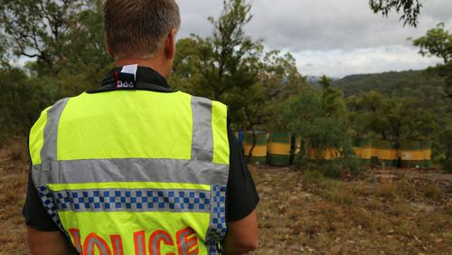 NSW police searching a property at Blaxlands Ridge in the Hawkesbury. Picture: AAP