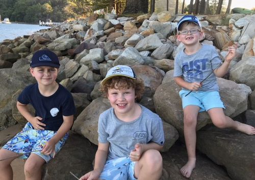 Jimmy (centre) had been enjoying a camping trip with his best friends Charles and Dominic. (Supplied)
