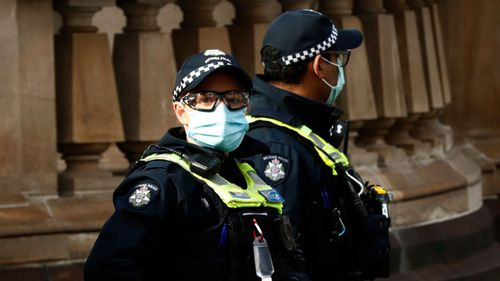 Police on patrol in Melbourne during the stage four lockdown.