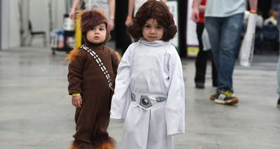 <p>Die-hard science fiction and fantasy fans dressed head-to-toe in their best cosplay converged on Glebe Island this week for Oz Comic Con, but it was two tiny tots in Star Wars costumes that stole the show. </p><p>John Elias, 2, and his sister Lara, were crowd favourites at the weekend's event, dressed as Chewbacca and Princess Leia from the Star Wars saga. (AAP)</p><p><strong>Click through to see more pictures of fans, young and old, dressing up as their favourite characters for the two-day event. </strong></p>
