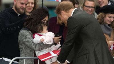 Prince Harry meets a young fan in Denmark, October 2017