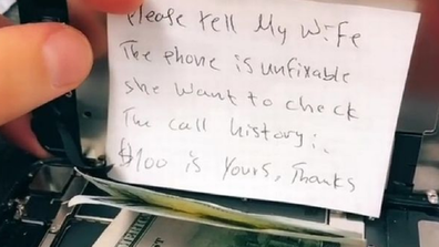 The note was packed in with the broken phone.