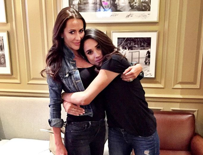Jessica Mulroney and Meghan Markle hugging