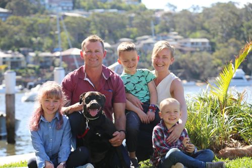 Jen Armstrong with her partner Danny and their children, Isabel, Harvey and Oliver, and dog Rosie.