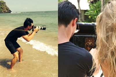 Steven gets his feet wet as he tries to get the perfect shot - and reviews the results with Jen.