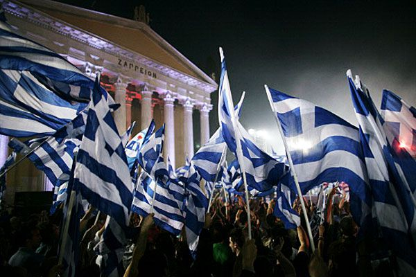 Greek flags and protest