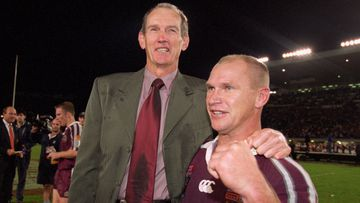 Wayne Bennett celebrates a famous Origin victory with Allan Langer.