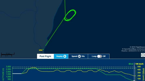 Flight radar images reveal the plane circled above the ocean before landing.  Picture: Flightware