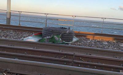 Debris was scattered across the tracks on the bridge to Copenhagen.