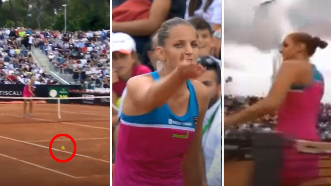 Fuming Pliskova bashes umpire's chair