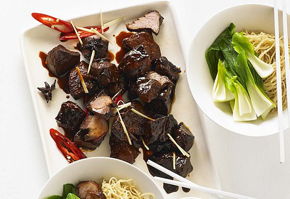 Marion Grasby's red braised pork with egg noodles