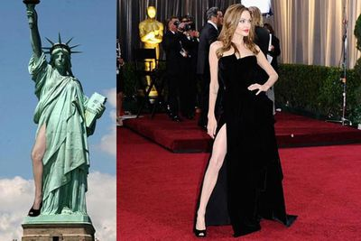 <i>Noun</i><br/>When a thigh breaks out of a dress with achingly precise intention. Angelina Jolie can be credited with making it go viral, jutting out her leg at the 2012 Oscars both on the red carpet and on stage. The internet ate up the iconic move, regurgitating it in memes to over-saturation. The leg-bomb is often mimicked by other celebs, but never quite with the same impact as Angelina's Great Leg-Bomb of 2012.<br/><br/>Image: Getty/Twitter