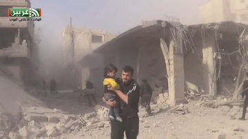 9RAW: Apparent airstrikes injure children in Syria
