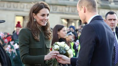Prince William, Duke of Cambridge and Catherine, Duchess of Cambridge depart City Hall, Bradford on January 15, 2020 in Bradford, United Kingdom