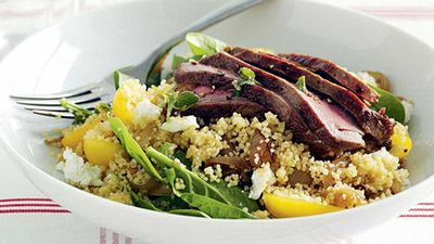 "<a href=""http://kitchen.nine.com.au/2016/05/17/17/06/warm-lamb-couscous-salad-with-baby-spinach"" target=""_top"" draggable=""false"">Warm lamb couscous salad with baby spinach</a> recipe"