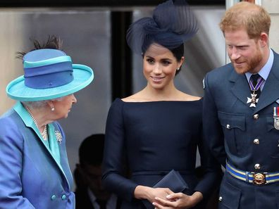 Queen Elizabeth with Meghan and Harry.