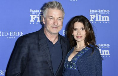 Jan. 31, 2018 file photo shows Alec Baldwin, left, and Hilaria Baldwin at the Santa Barbara International Film Festival in Santa Barbara, Calif.