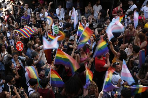 Activists gathered in Istanbul to promote rights for gay and transgender people yesterday before police dispersed the crowd using tear gas.