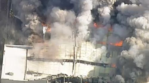 Multiple fire-fighting appliances are working to control the fire.